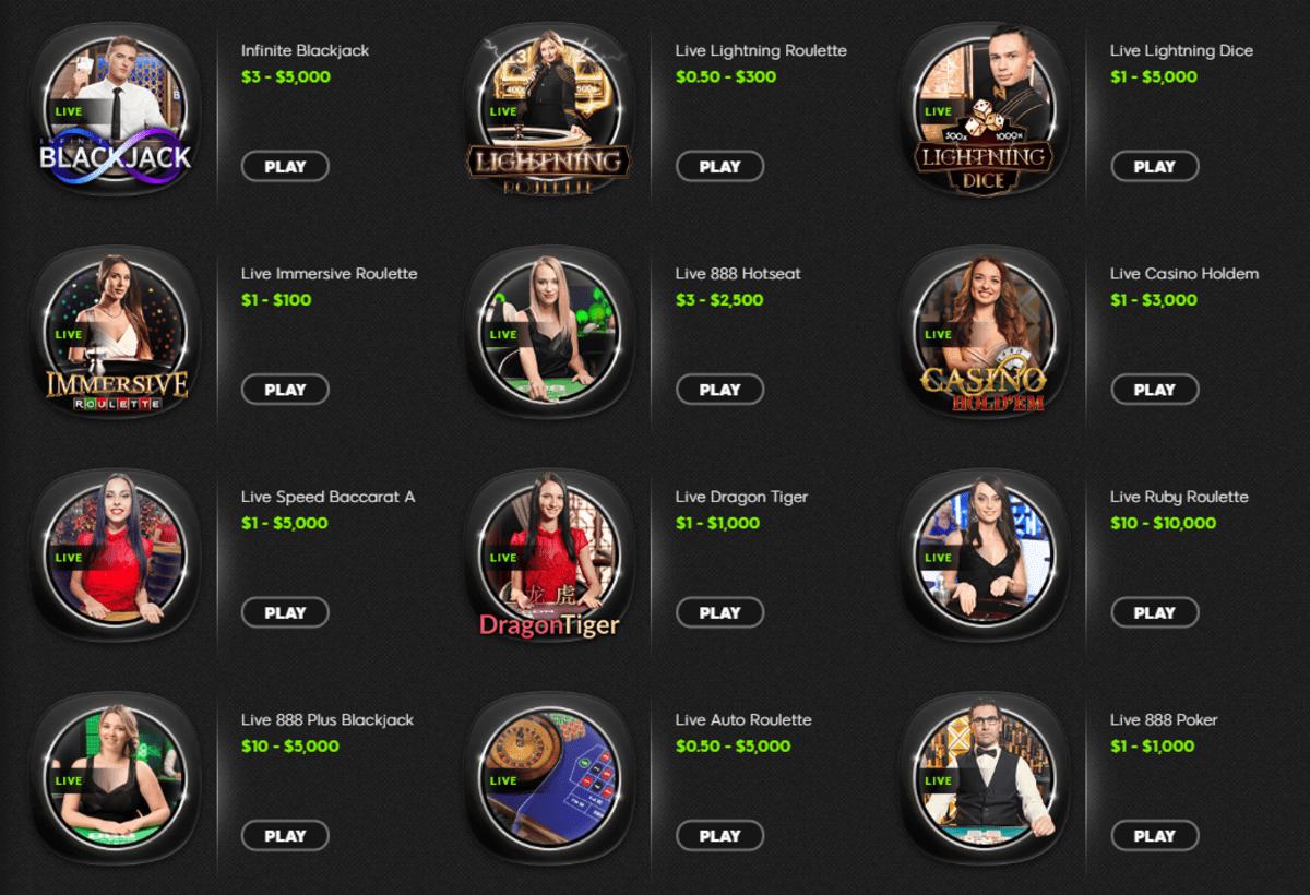 888 live casino options